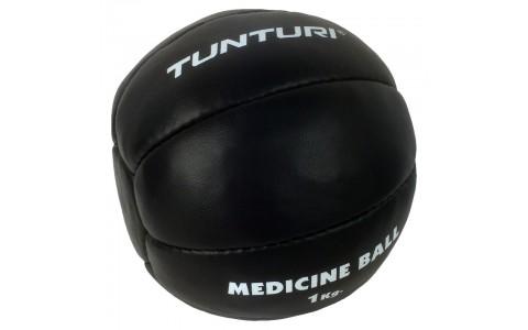 Minge medicinala, Tunturi, Medicine Ball Leather, 1kg Negru