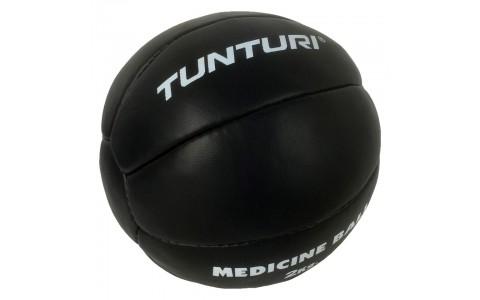 Minge medicinala, Tunturi, Medicine Ball Leather, 2kg Negru