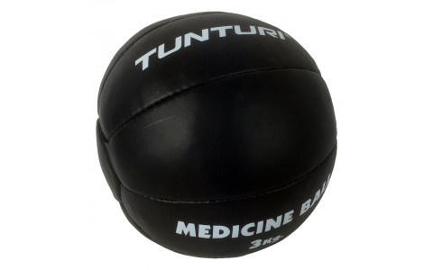 Minge medicinala, Tunturi, Medicine Ball Leather, 3kg Negru