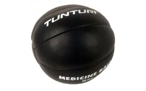 Minge medicinala, Tunturi, Medicine Ball Leather, 5kg Negru
