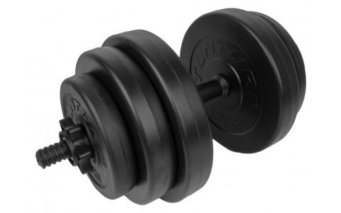 Set greutati Barbell/Dumbbel, Tunturi,Cauciucate, 15 kg