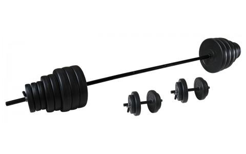 Set greutati Barbell/Dumbbel, Tunturi, 50 kg