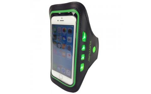 Suport Telefon Mobil cu LED, Tunturi, Cu Prindere Pe Brat, Verde
