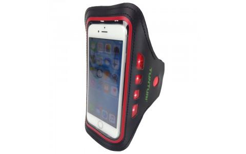 Suport Telefon Mobil cu LED, Tunturi, Cu Prindere Pe Brat, Rosu
