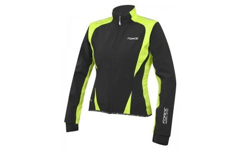 Jacheta Ciclism Femei, Force, X71, Softshell, Negru-Fluorescent