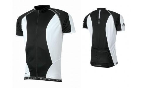 Tricou Ciclism Barbati, Force, T12, Negru-Alb, Poliester