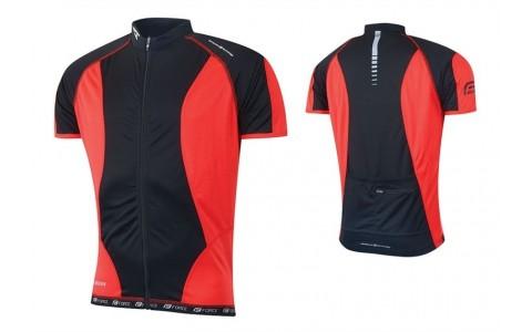 Tricou Ciclism Barbati, Force, T12, Negru-Rosu, Poliester