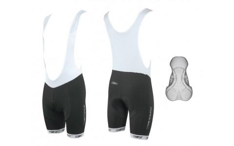 Pantaloni Scurti Ciclism, Force, B38, Pentru Barbati, Negru-Alb, Cu Bazon