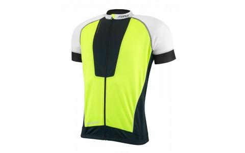 Tricou Ciclism, Force, Air, Negru/Alb/Fluorescent, Pentru Barbati