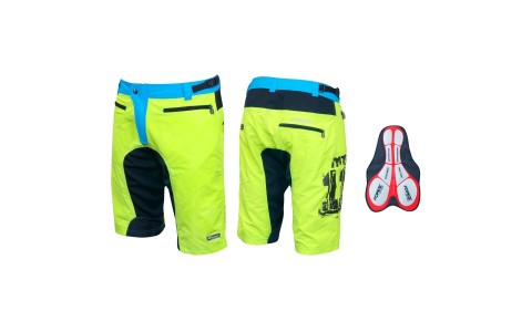 Pantaloni Scurti, MTB Force, F-11 cu Interior Detasabil, Galben-Fluorescent