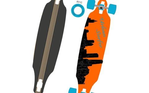 Longboard, Spartan, Urban Surfer, 38 inch, Ax Aluminiu, 95,5x23 cm, Portocaliu
