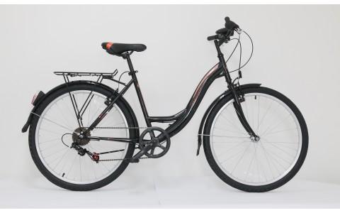 Bicicleta dama de oras Ultra Tonus CTB, 26, 460mm, negru-bej-portocaliu