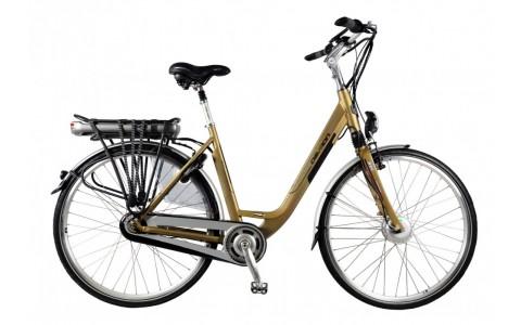 Bicicleta Oras Electrica, Devron, 28028 Milton, Auriu, Cadru Aluminiu, Autonomie 60-80 Km