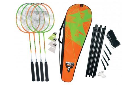 Set badminton, Talbot Torro, Federball 4-Attacker Plus, Verde-Portocaliu