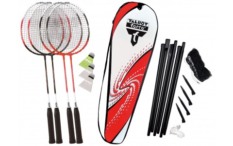 Set Badminton, Talbot Torro, 4 Attacker Plus, Rachete + Fluturasi + Husa