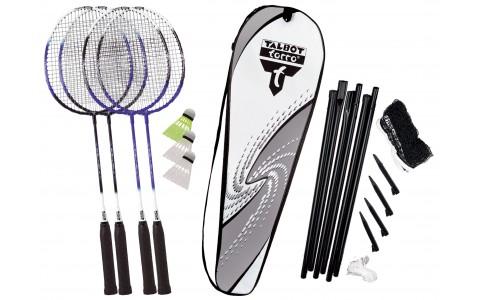 Set Badminton, Talbot Torro, 4 Fighter, Rachete + Fluturasi + Plasa cu ancora