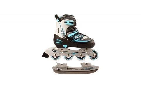 Role/Patine Reglabile, Nijdam, Inline Skate Combo, 2in1, 31-34, Negru-Albastru