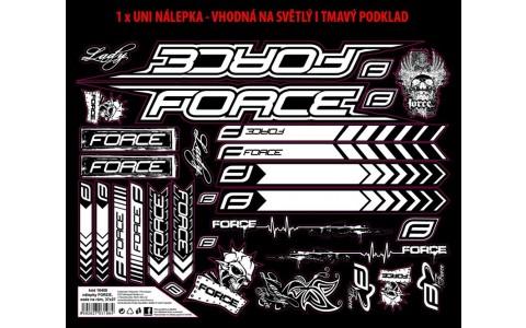 Autocolante Cadru MTB, Force, Logo, 37x27 cm, Negru-Alb