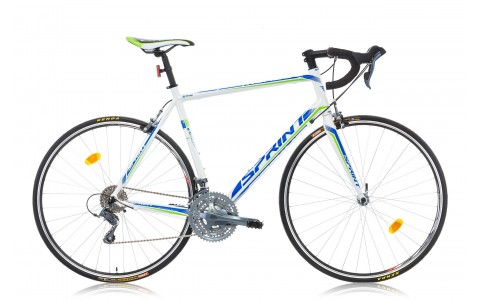 Bicicleta Road, Sprint, Monza Race, 700x55cm, Alb-Albastru-Verde, 2016