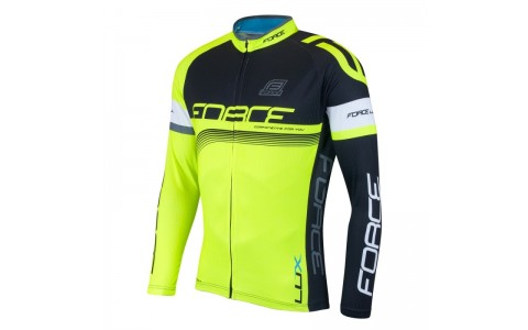 Bluza ciclism Force Lux maneci lungi negru/fluo XS