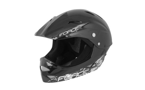Casca Juniori, Force, Downhill, Negru Lucios, Marime S-M