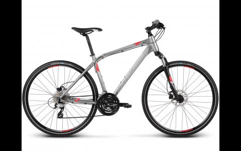 Bicicleta Kross Evado 4.0, 2017, XL, gri-argintiu-rosu