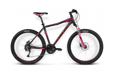 Bicicleta MTB Dama, Kross, Lea F4, 26x2.1 inch, Negru-Rosu-Roz