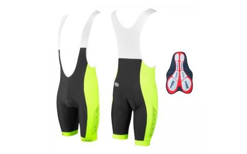 Pantaloni scurti cu bazon si bretele Force B40 negru/fluo S
