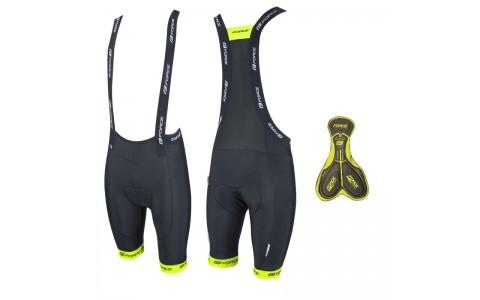 Pantaloni scurti cu bazon si bretele Force B45 negru/fluo M