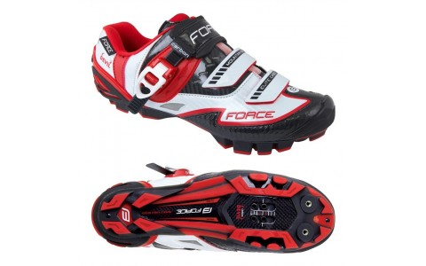 Pantofi Force MTB Carbon Devil alb/rosu 45