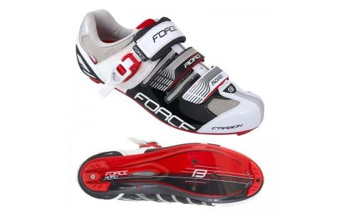 Pantofi Ciclism, Force, Road Carbon, Negru-Alb, 43