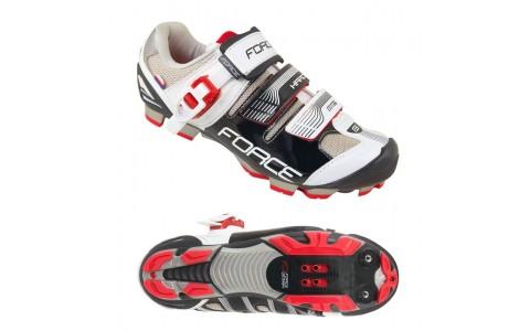 Pantofi MTB Hard, Force, Barbati, Negru-Alb, Marimea 45