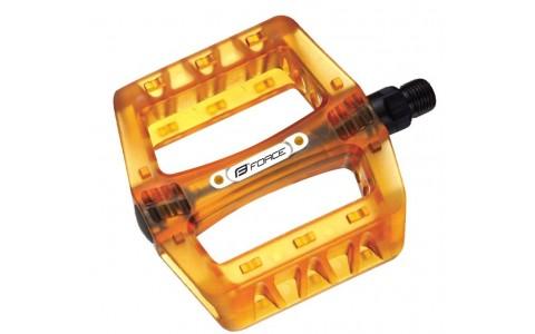 Pedale BMX, Force, Plastic, Transparent-Portocaliu