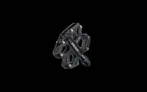 Pedale Union SP-1090 aluminiu extrudat negru + CNC, ax Cr-Mo, platforma, rulmenti capsulati AM