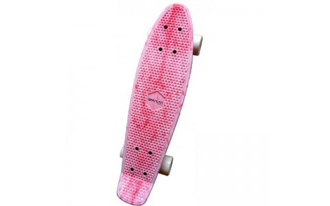 Penny Board, Spartan, Plastik Board, Lungime 22.5 inch, Mov/Alb, 62.5x15 cm