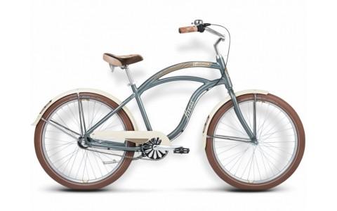 Bicicleta Cruiser, Oras, Kross, Cinnamon, 26 inch, 3 viteze, Albastru-Argintiu