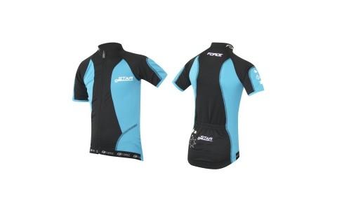 Tricou Ciclism Pentru Fete, Force, Kid Star, 128-140 cm, Albastru-Negru