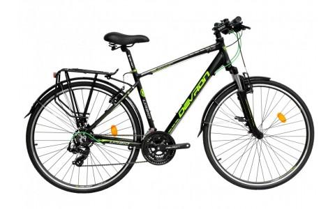 Bicicleta Oras, Touring, Devron, Urbio T1.8, Negru-Verde, Cadru Aluminiu, Jante 28 Inch