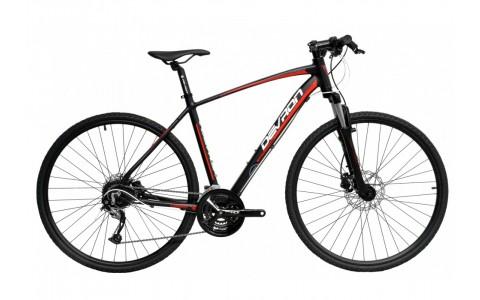 Bicicleta Oras, Devron, Urbio K3.8, Negru-Rosu, Cadru Aluminiu, Jante 28 Inch