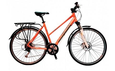 Bicicleta Trekking Femei, Devron, Trekking Lady LT3.8, Portocaliu-Gri, Cadru Aluminiu, 27 Viteze