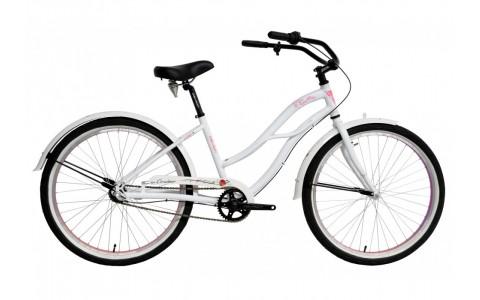 Bicicleta Oras Femei, Devron, Urbio LU2.6, Alb-Roz, Cadru Aluminiu, Jante 26 Inch