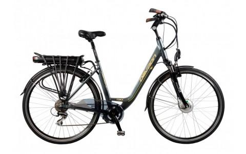 Bicicleta Oras Electrica, Devron, 28126, Gri-Galben, Cadru Aluminiu, Autonomie 70-90 Km