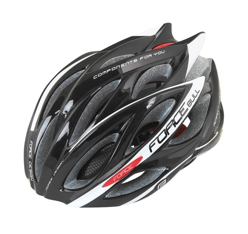 Casca Bicicleta  Force  Bull  Negru-alb  Elemente Reflectorizante