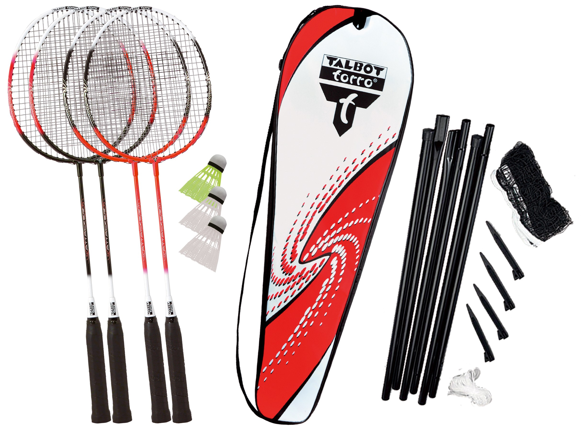 Set Badminton  Talbot Torro  4 Attacker Plus  Rachete + Fluturasi + Husa