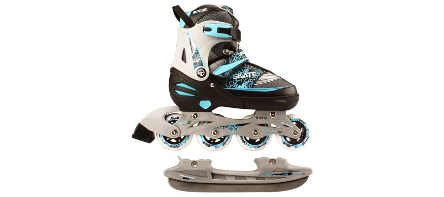 Role/patine Reglabile, Nijdam, Inline Skate Combo, 39-42, Negru-albastru