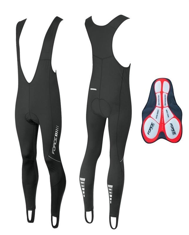 Pantaloni Ciclism Barbati, Force, Z68, Cu Bretele, Negru