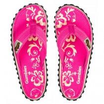 Slapi Flip Flop Gumbies, Islander Canvas, Pink Hibiscus