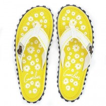 Slapi Flip Flop Gumbies, Islander Canvas, Yellow Daisy